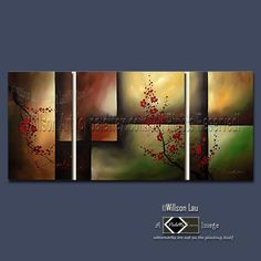 """Plum Blossom""  CUSTOM - 28X60 Willson's Signature Series - Asian Blossoms - Original Asian Zen Art Modern Oil Painting"