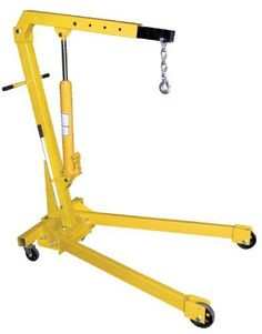 Vestil EHN-20-C Heavy Duty Steel Foldable Shop Crane Engine Hoist with 2K Folding Legs by Vestil. $336.00. These portable units are great for hundreds of lifting applications. Telescopic boom for multiple lifting heights and capacities. Boom is raised and lowered with a manual hydraulic hand pump. The high-capacity hydraulic cylinder provides for faster lifting action and features a large diameter ram to withstand angled loads when lifting. Includes two rigid and two swivel ...