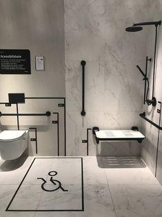 8 Sensational Tricks: Very Small Shower Remodel fiberglass shower remodeling decor.Walk In Shower Remodeling Grey Tiles. Ada Bathroom, Handicap Bathroom, Bathroom Layout, Modern Bathroom, Bathroom Tray, Washroom Design, Toilet Design, Bathroom Interior Design, Behindertengerechtes Bad