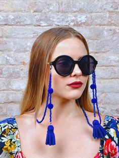 Blue tassel sunglass Eyeglass Chain string of accounts Chain Eyewear Glasses necklace Glasses chain gift sunglass cord fun sunglass Diy Necklace, Necklace Designs, Eyewear Trends, Fashion Eye Glasses, Eyeglass Holder, Bracelet Crafts, Eyeglasses, Band, Chains