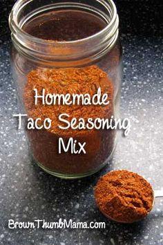 Homemade Taco Seasoning Ingredients: 2 tablespoons chili powder (storebought or homemade) 1 teaspoon cumin 1 teaspoon coriander 1 teaspoon garlic salt 1/2 teaspoon oregano Cayenne pepper to taste (start with 1/4 teaspoon)