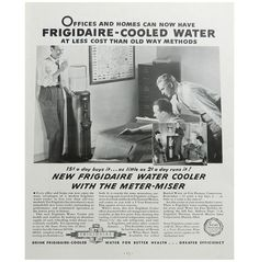 Vintage Watercooler Ad  Frigidaire Cooled Water Office Chat