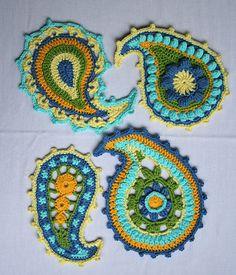 paisley crochet Crochet Paisley, Crochet Motifs, Freeform Crochet, Crochet Art, Love Crochet, Irish Crochet, Crochet Crafts, Yarn Crafts, Crochet Flowers