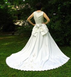 Eco Wedding Dress with Detachable Train Upcycled by bytheway, $300.00
