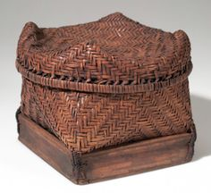 Africa | Basket from the Kete people of Ndombe, Belgian Congo | Plant fiber and wood | ca. 1910.