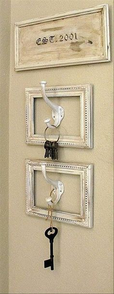 antique key display with ribbons or hooks - Google Search