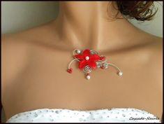 collier mariage rouge fleur de soie aluminium