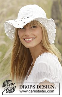 """Country Girl - Crochet DROPS hat with fan pattern in """"Muskat"""". - Free pattern by DROPS Design"""