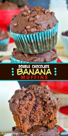 Double Chocolate Banana Muffins - two times the chocolate makes these bakery style banana muffins taste incredible! Make this easy recipe when you have ripe bananas to use up! These are delicious! Bakery Recipes, Gourmet Recipes, Dessert Recipes, How To Make Chocolate, Homemade Chocolate, Chocolate Making, Recipe Using Ripe Bananas, Recipes Using Bananas, Double Chocolate Chip Muffins