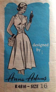 1950's Vintage Anne Adams Wrapped Bodice Sun Dress Sewing Pattern #R4816 *FF*