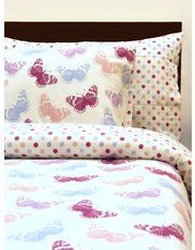 Butterfly print brushed cotton duvet set