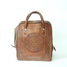 Vintage Tooled Leather Mexican Bowling Bag By Santokivintage Tools Bags Tooling