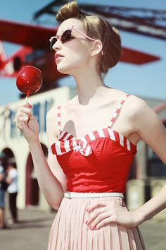 Retro red and white stripes outfit. I could see myself wearing this to a carnival.