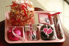 love the pink school lunch tray - Valentine's Day..how cute for a teacher's gift idea.  Could put lunch items on it...not all sweets. :)