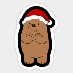 Grizzly - We Bare Bears Grizzly - Sticker Cartoon Stickers, Tumblr Stickers, Cute Stickers, Funny Christmas Cards, Christmas Stickers, Korean Best Friends, Cute Christmas Wallpaper, We Bare Bears Wallpapers, 3 Bears