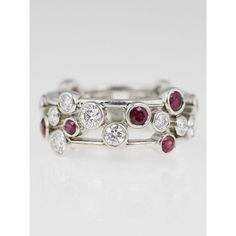 Pre-owned Tiffany & Co. Platinum with Diamond and Ruby Bubbles Ring (98 960 UAH) ❤ liked on Polyvore featuring jewelry, rings, bezel setting diamond ring, ruby jewelry, pre owned diamond rings, ruby diamond ring and tiffany co rings