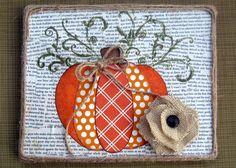 Fall Pumpkin Canvas with Burlap Flower