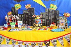 Superhero themed birthday party via Kara's Party Ideas KarasPartyIdeas.com Cake, printables, desserts, supplies, tutorials, and more! #superheroparty #superherocake #superhero #superheropartyideas (16)