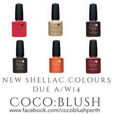 CND Shellac Fall/Winter Shades 2014 - Locket Love- Fine Vermilion- Taffeta- Crimson Sash- Plum Paisley- Posh Corduroy