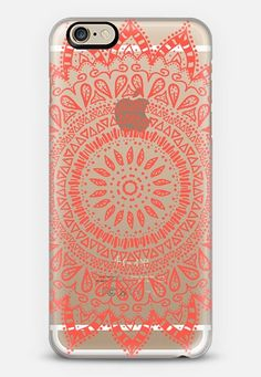 Bohemian flower mandala in coral - crystal clear phone case