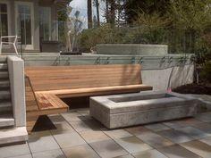 Contemporary fire pit and built in bench - contemporary - Patio - Vancouver - KMZ Landscape Design Concrete Patios, Concrete Retaining Walls, Concrete Fire Pits, Wall Seating, Built In Seating, Built In Bench, Deck Seating, Seating Areas, Fire Pit Area