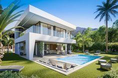 Villa Design, Modern House Design, Beautiful Villas, House Goals, Luxury Villa, Luxury Real Estate, Exterior Design, Design Interior, Luxury Homes