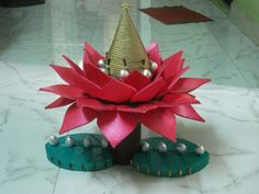 Coconut  lotus, made from thermacol, made by kirti maru Thali Decoration Ideas, Diwali Decorations, Festival Decorations, Wedding Decorations, Decor Ideas, Wedding Ideas, Ganesh Chaturthi Decoration, Crafts For Kids, Arts And Crafts