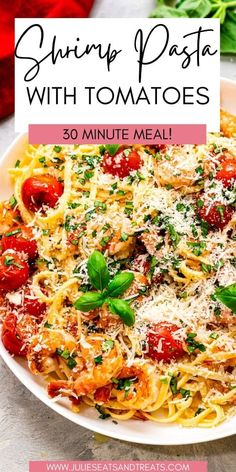 Easy Pasta dinner recipe that's ready in 30 minutes! This linguine is loaded with grilled shrimp and tomatoes that's tossed in a delicious butter sauce. It's the perfect 30 minute meal that the family will love. Summer Vegetable Recipes, Summer Grilling Recipes, Easy Summer Meals, Barbecue Recipes, Easy Weeknight Meals, Summer Recipes, Easy Meals, Easy Pasta Dinner Recipes, Shrimp Pasta Recipes