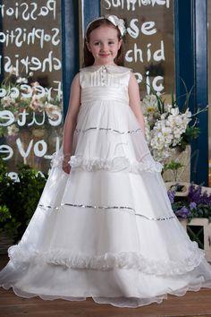 Wedding, Attractive Ball Gown Jewel Floor-length Pleated Flower Girl Dress, Flower,98.99