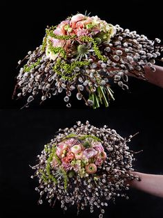 Bouquets with pussy willow Unique Flower Arrangements, Unique Flowers, Beautiful Flowers, Floral Bouquets, Wedding Bouquets, Wedding Flowers, Art Floral, Floral Design, Fleur Design