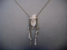 Spellbound- Raw Quartz Crystal Amulet Necklace with Raw Crystal Fringe and Silver Chain