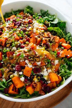 Hearty Sweet Potato, Arugula & Wild Rice Salad with Ginger Dressing - Cookie and Kate This delicious salad is fresh, filling and nutritious! This recipe yields a giant salad that you can enjoy all week long. Rice Salad Recipes, Winter Salad Recipes, Farro Recipes, Wild Rice Salad, Clean Eating, Healthy Eating, Vegetarian Recipes, Healthy Recipes, Salads