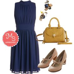 In this outfit; Windy City Dress in Navy, Day and Ignite Earrings, Adventurous Acumen Bag, Once in a Lifetime Enchants Heel #daytimepartydress #workfriendly #rhinestones