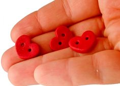 Valentine red heart buttons of polymer clay