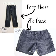 how to take jeans, cut them off, and hem them so they look like they were shorts all along