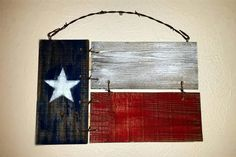 Texas Flag Painted Fence Panel Wood Sign Wall by FosheeFantastics
