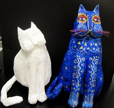 laurel burch papier mache cats from there's a dragon in my classroom