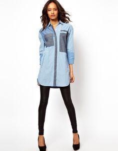 ASOS Premium Longline Colour Block Denim Shirt