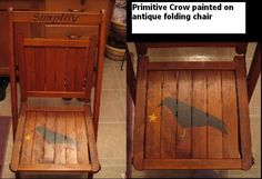 Antique Folding Chair With Crow - I could stencil on inexpensive folding chairs like this!