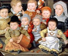 1565 Jacob Seisenegger German or Austrian Portrait Of A Mother With Her Eight Children