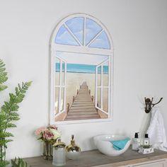Arched Window Beach Scene Oil Painting interiordesign #interiors #homedecor #homeware #interiordesignideas #interiorstyling #home #interior4all #wallart #retro#rustic#rusticdecor #kitchen #vintage #shabbychic #industrial