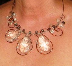 "NECKLACE "" THE FIRST""-  made from CRYSTALS with silver and copper wire non tarnish; 25 $  ; UNIQUE HANDMADE JEWELRY by Camely's Unkat Bijoux ORDER OR MORE PRODUCTS on https://www.facebook.com/unikat.bijou.handmade.Camely"