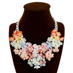 Women's Statement Necklace Party Gemstone Floral Resin Assorted Color