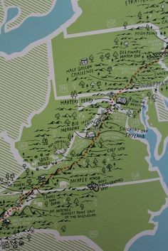 The lure of the Appalachian Trail depicted in a whimsical illustration that highlights favorite points. Have you hiked to McAfee Knob? Or packed to Snickers Gap? Hand drawn and printed in the USA, thi Thru Hiking, Camping And Hiking, Hiking Trails, Backpacking Tips, Camping Tips, Hiking Maps, Tent Camping, Harpers Ferry, Triomphe