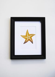 Genuine Foil Print Starfish Nautical Gold Foil by ColorMeUncommon