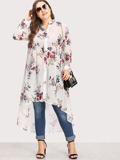 Plus Floral Print Dip Hem Blouse Fat Fashion, Hijab Fashion, Fashion Outfits, Plus Size Blouses, Plus Size Dresses, Plus Size Outfits, Plus Size Fashion For Women, Plus Size Womens Clothing, Plus Size Fall Outfit