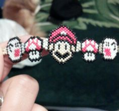 Closer look to the beaded Boo, Mushroom & Mario bracelet I made.