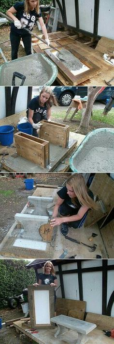 four steps showing the making of a concrete seat - Neue Deko-Ideen Concrete Crafts, Concrete Projects, Backyard Projects, Outdoor Projects, Garden Projects, Outdoor Ideas, Concrete Bench, Concrete Furniture, Concrete Cement