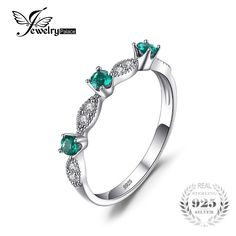 JewelryPalace 3 Stones Round Created Emerald Engagement Wedding Rings For Women Genuine 925 Sterling Silver Fashion Fine Jewelry Womens Wedding Bands, Wedding Rings For Women, Wedding Ring Bands, Emerald Wedding Rings, Wedding Jewelry, Emerald Rings, Fashion Rings, Fashion Jewelry, Sterling Silver Rings
