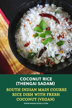 Easy to make, No Onion, No garlic South Indian Coconut Rice Recipe known as Kalavai Sadam or Variety Rice. Ideal for lunch, prasad during festivals and best way to consume excess coconut at home. Easy Rice Recipes, Lunch Box Recipes, Lunch Ideas, Types Of Rice Recipe, South Indian Coconut Rice Recipe, Lemon Rice, Vegetable Rice, How To Cook Rice, Garlic Recipes